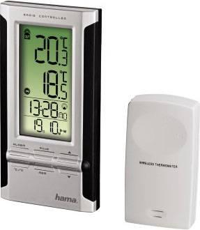 Погодная станция Hama EWS-180 серебристый/черный, радиус действия датчиков до 30м, монохромный дисплей, электропитание батарейки АА/AAA