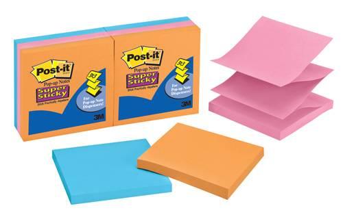 Бумага для заметок POST-IT (Z- блокнот), 76 х 76 мм, 90 ллистов, 6 блоков в упаковке, теплая неоновая радуга, 3M - фото 1