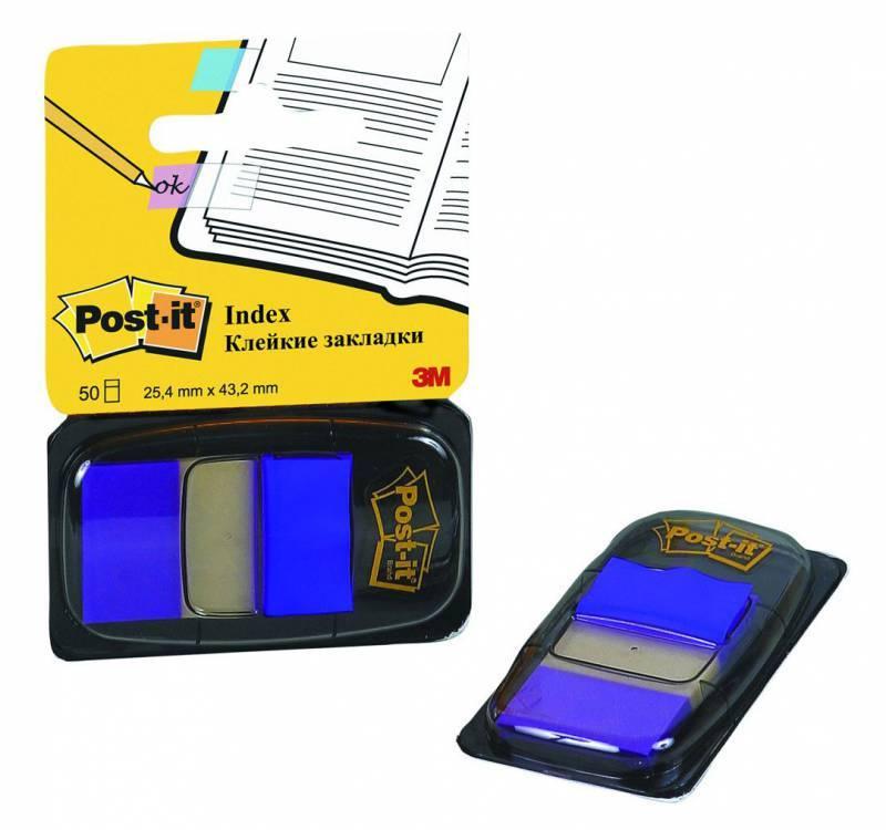 Закладки-индексы POST-IT, 2.5 см, 50 листов, ярко-синий, 3М - фото 1
