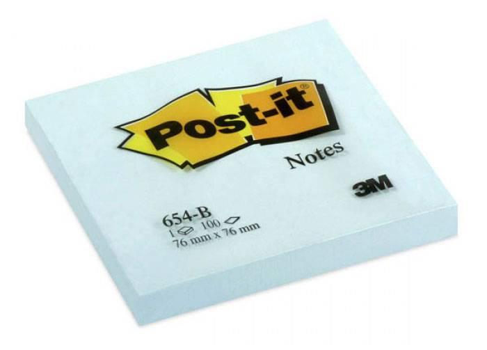 Бумага для заметок POST-IT, 76х76 мм, 100 листов, голубой, 3М - фото 1