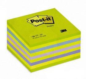 Куб для заметок POST-IT, 76х76 мм, 450 листов, зеленый неон, 3М - фото 1