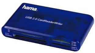 Картридер USB2.0 Hama H-55348 синий (00055348)