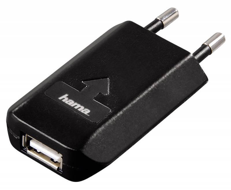 Зарядное устройство Hama H-39659 USB от сети 100-240V позолоченые контакты черный  - фото 1