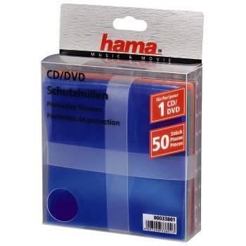 Конверт Hama на 1CD/DVD H-33801 разноцветный (в упаковке:50шт) (00033801)