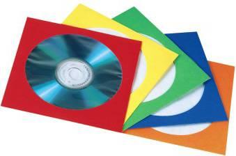Конверты Hama H-78368 для CD/DVD бумажные с прозрачным окошком 50 шт. 5 цветов  - фото 1