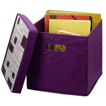Коробка Hama H-96178 складная с крышкой для хранения вещей 30 х 30 х 30 см картон/флис фиолетовый  - фото 2