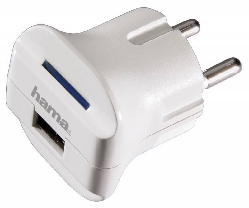 Зарядное устройство Hama H-14114 USB для MP3 плееров евровилка 5В/1000mА белый  - фото 1