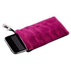 Чехол Hama H-91227 для MP3 плеера Universal CareBag 2.5 х 1.5 х 6 см микрофибра черный/малиновый  - фото 2