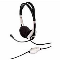 Наушники с микрофоном Hama HS-250 черный/белый - фото 1