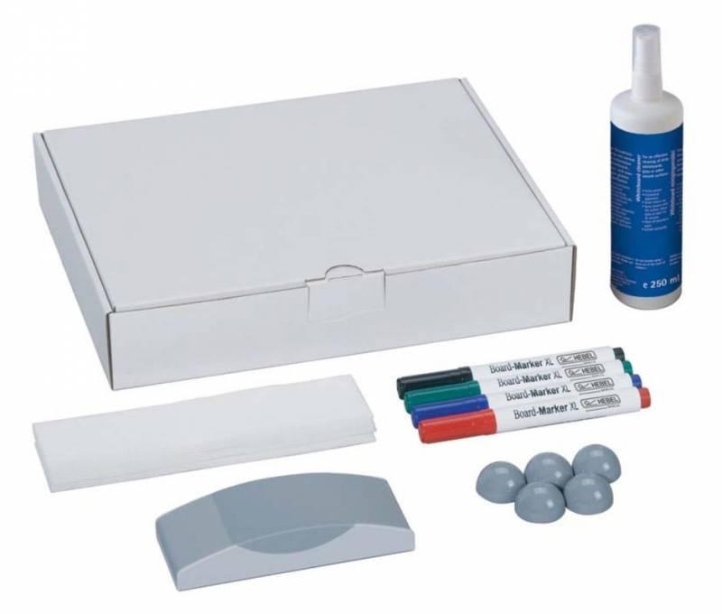 Набор для досок Hebel Maul 6386099 4 маркера/5 магнитов/стиратель/салфетки/спрей-очиститель - фото 1