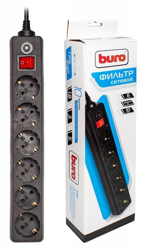 Сетевой фильтр Buro 600-6FT-BLACK 1.8м черный - фото 1