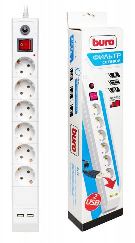 Сетевой фильтр Buro BU-SP5_USB/W 5м белый - фото 1