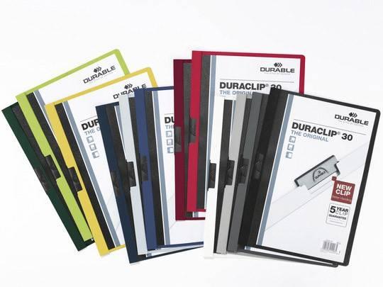 Папка-клип Durable Duraclip Original 30 с черным клипом max 30 стр верхнлист прозрачный сине-черная - фото 1