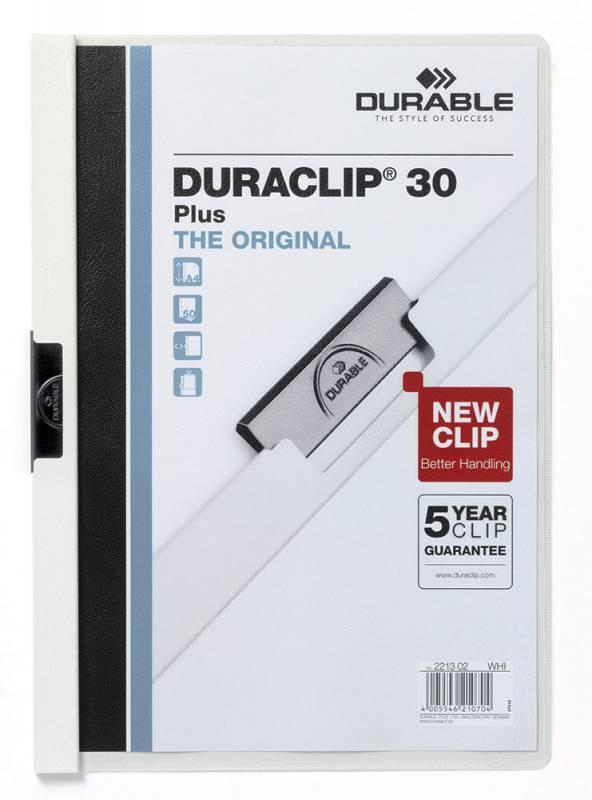 Папка-клип Durable Duraclip 30 Plus с карманом в прозрачном верхнем листе 1-30 листов белая - фото 1