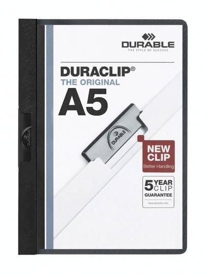 Папка-клип Durable Duraclip plus с черным клипом max 30 страниц верхнлист прозрачный А5 белая - фото 1