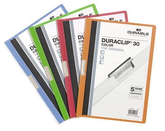 Папка-клип Durable Duraclip Color с верхн прозр матов листом и серебр зажимом 1-30 листов оранж - фото 1
