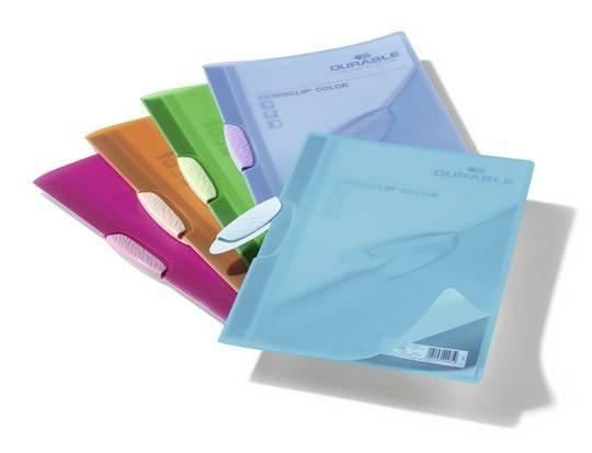 Папка-клип Durable Swingclip Color цветная полупрзрачная с фигурным клипом оранжевая - фото 1