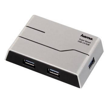 Разветвитель USB 3.0 Hama SuperSpeedActive серебристый (00039879) - фото 1