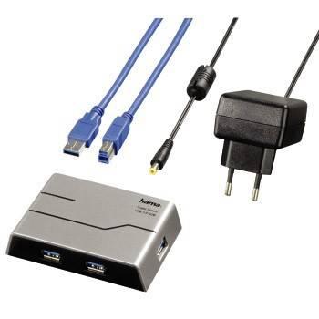 Разветвитель USB 3.0 Hama SuperSpeedActive серебристый (00039879) - фото 2