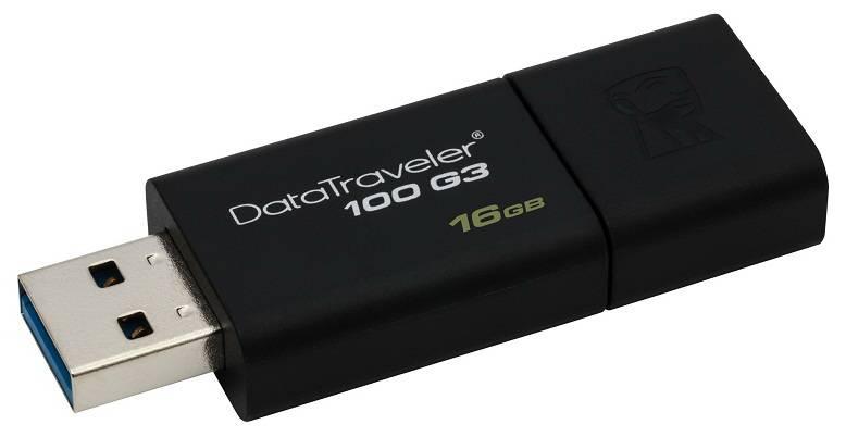 Флеш диск 16Gb Kingston DataTraveler 100 G3 USB3.0 черный - фото 2