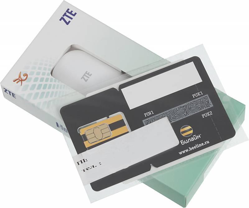 Модем 3G ZTE MF667+Сим-Карта безлимитный Билайн Интернет за 390р/мес-2 Гб Тариф-Планшет Онлайн+ USB белый - фото 1