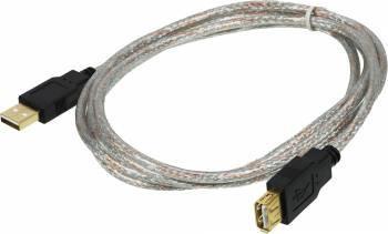 Kабель USB2.0 Ningbo A-A (m-f) 1,8m удлинитель прозрачный с позол. конт.