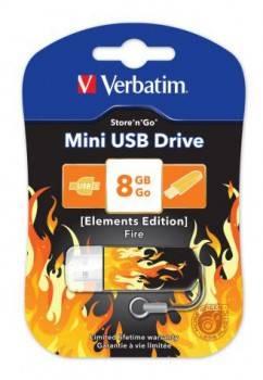 Флеш диск Verbatim Store n Go Mini Elements Fire 8ГБ USB2.0 оранжевый/рисунок (98158)
