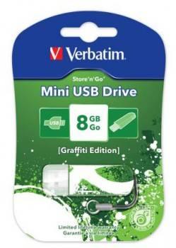 Флеш диск Verbatim Store n Go Mini Graffiti 8ГБ USB2.0 зеленый/рисунок (98163)