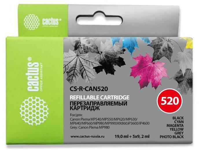 Комплект перезаправляемых картриджей Cactus CS-R-CAN520 многоцветный для Canon Pixma MP540/MP550/MP620/MP630/MP640/MP660/MP980/MP990/MX860/iP3600/iP4600/MP980 - фото 1
