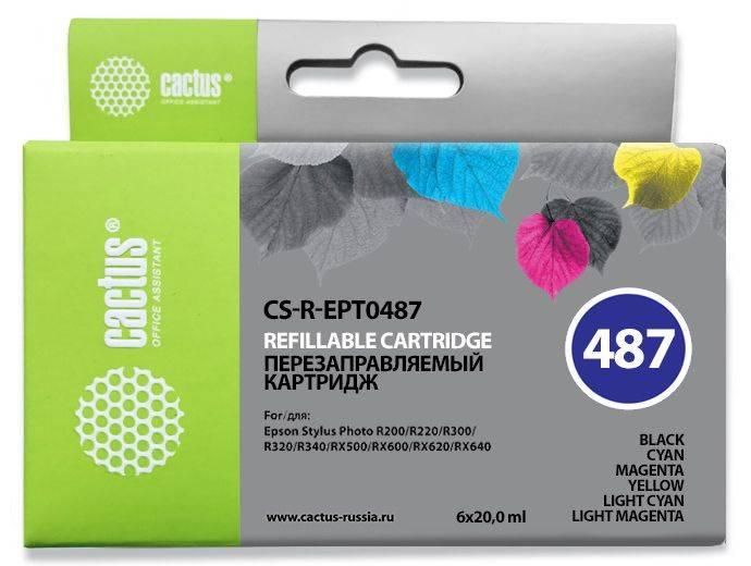 Картридж Cactus CS-R-EPT0487 черный/голубой/пурпурный/желтый/светло-голубой/светло-пурпурный - фото 1