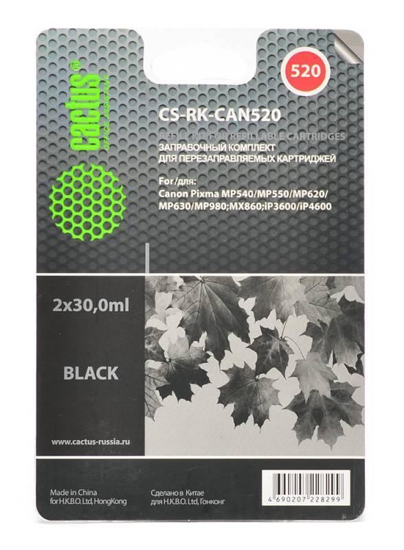 Заправка для ПЗК Cactus CS-RK-CAN520 черный 2xфл. 30мл для Canon Pixma MP540/MP550/MP620/MP630/MP640 - фото 1