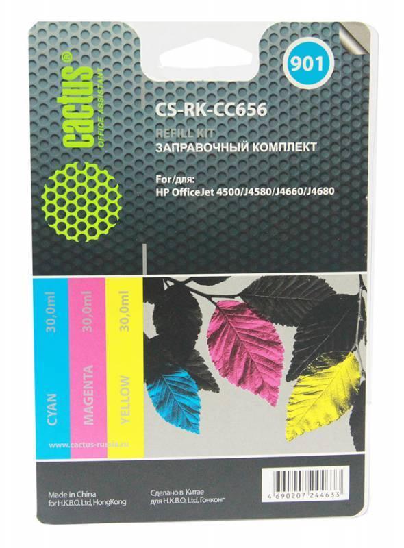 Заправочный набор Cactus CS-RK-CC656 многоцветный 3xфл. 30мл для HP OJ 4500/J4580/J4660/J4680 - фото 1