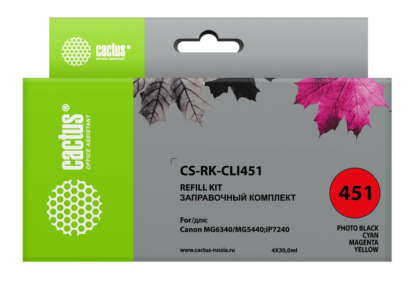 Заправочный набор Cactus CS-RK-CLI451 многоцветный 1фл. 120мл для Canon MG6340/5440/IP7240 - фото 1
