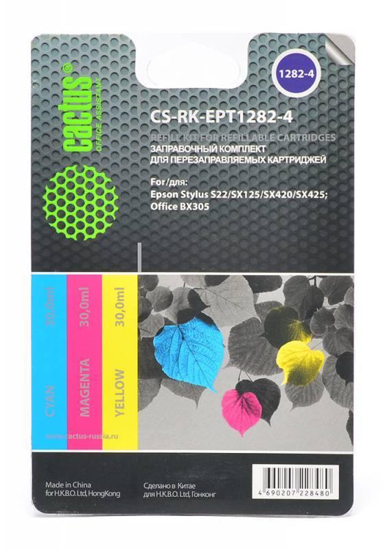 Заправка для ПЗК Cactus CS-RK-EPT1282-4 многоцветный 3xфл. 30мл для Epson St S22 - фото 1