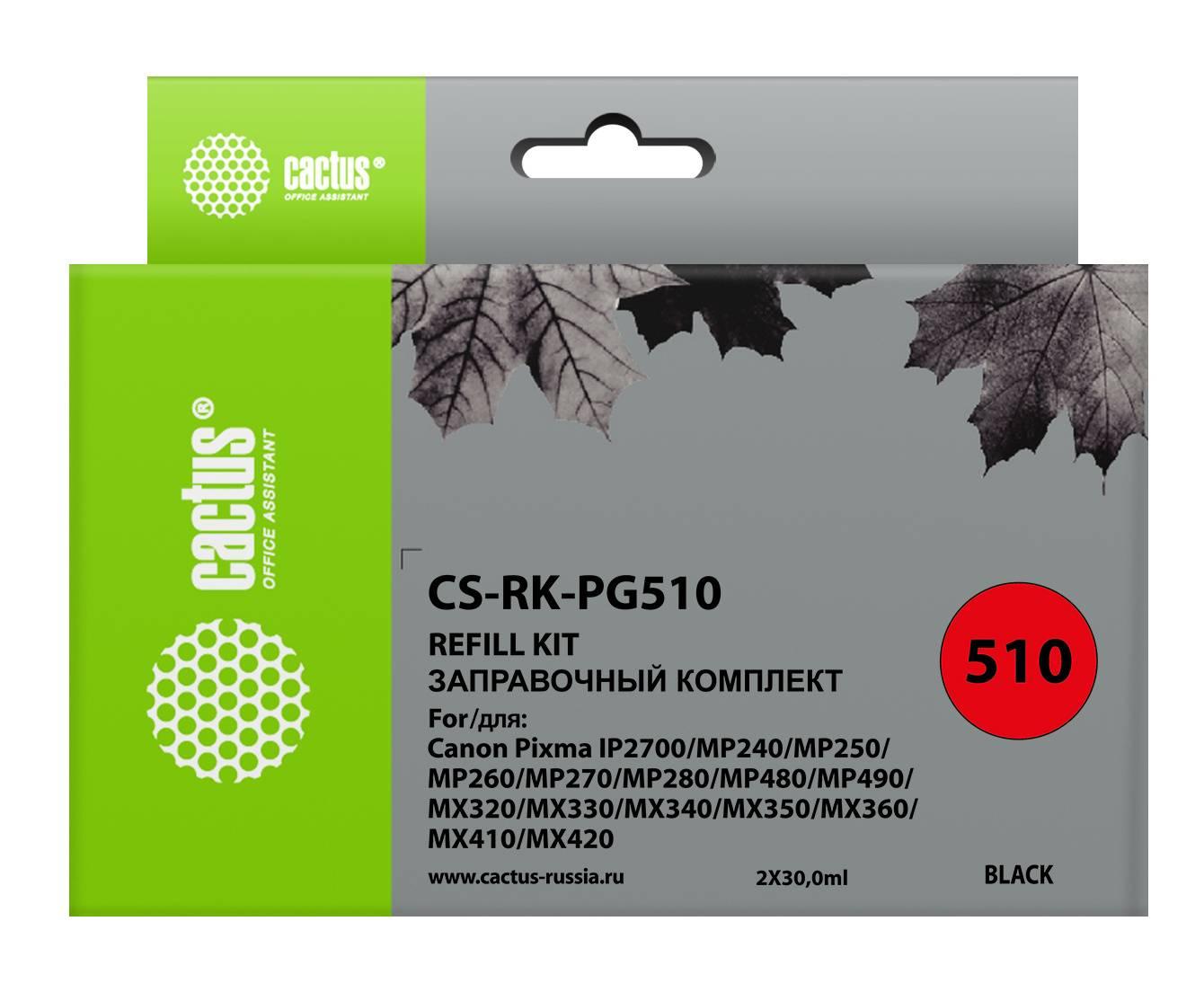Заправочный набор Cactus CS-RK-PG510 черный 2xфл. 30мл для Canon MP240/ MP250/MP260 - фото 1