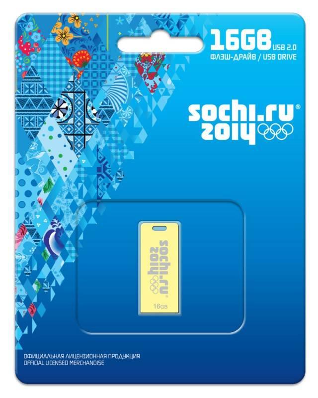 Флеш диск 16Gb Transcend Jetflash FD-16GB/SOCHI USB2.0 золотистый - фото 1