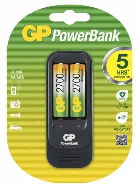 Аккумулятор + зарядное устройство AA GP PowerBank PB560GS270, в комплекте 2шт. (GP PB560GS270-2CR2)