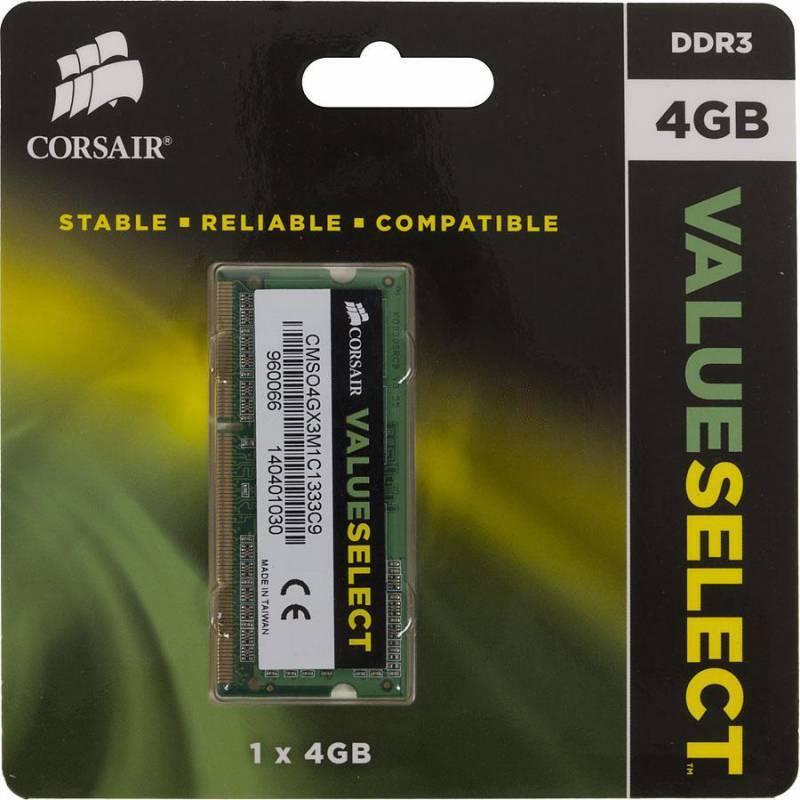 Модуль памяти SO-DIMM DDR3L 4Gb Corsair CMSO4GX3M1C1333C9 - фото 1