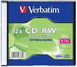 Диск CD-RW Verbatim 700Mb 12x (20шт) (43762)