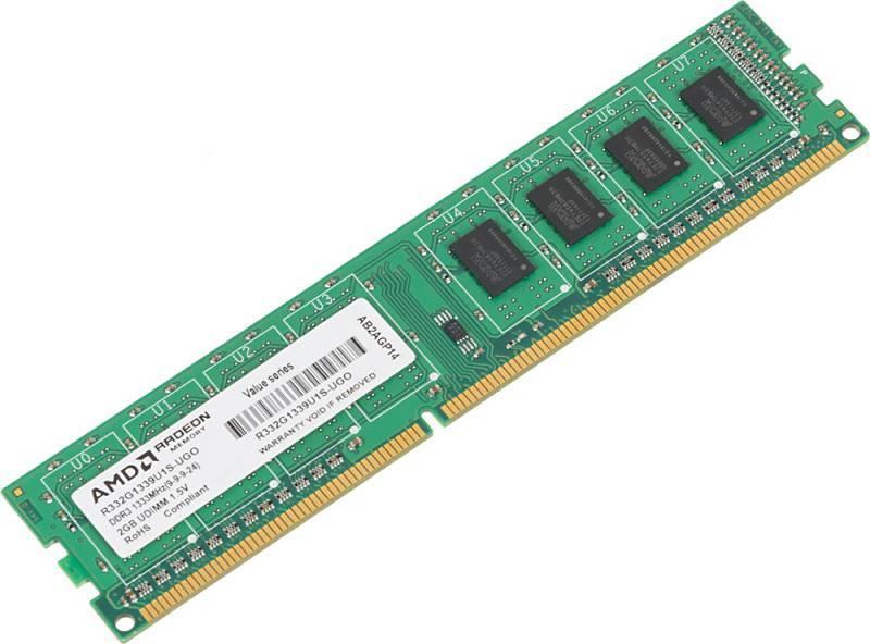 Модуль памяти DIMM DDR3 2Gb AMD R332G1339U1S-UGO - фото 1