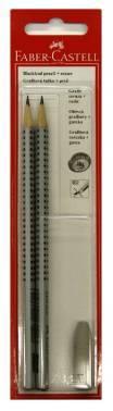 Карандаш чернографитовый Faber-Castell GRIP 2001 твердость HB / B и ластик- колпачок в блистере (2 шт+1шт)
