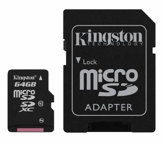 Карта памяти microSDXC 64Gb Class10 Kingston SDCX10/64GB - фото 1