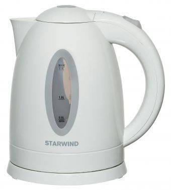 Чайник электрический Starwind SKP2211 белый, объём 1.7л, мощность 2200Вт, материал корпуса: пластик