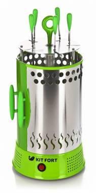 Электрошашлычница Kitfort KT-1402 зеленый / серебристый