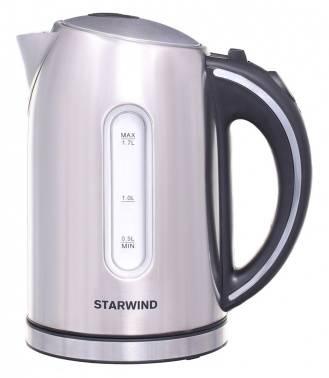 Чайник электрический Starwind SKS4210 серебристый матовый, объём 1.7л, мощность 2200Вт, материал корпуса: нержавеющая сталь