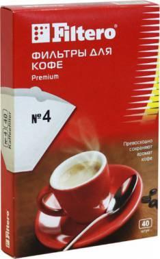 Фильтры для кофе для кофеварок капельного типа Filtero №4 белый, в упаковке 40шт. (№4/40)