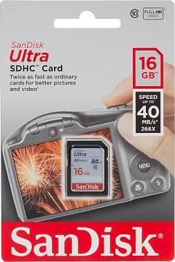 Карта памяти SDHC 16Gb Class10 Sandisk Ultra SDSDUN-016G-G46