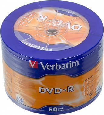 Диск DVD-R Verbatim 4.7Gb 16x (cake box 50шт) (43731)