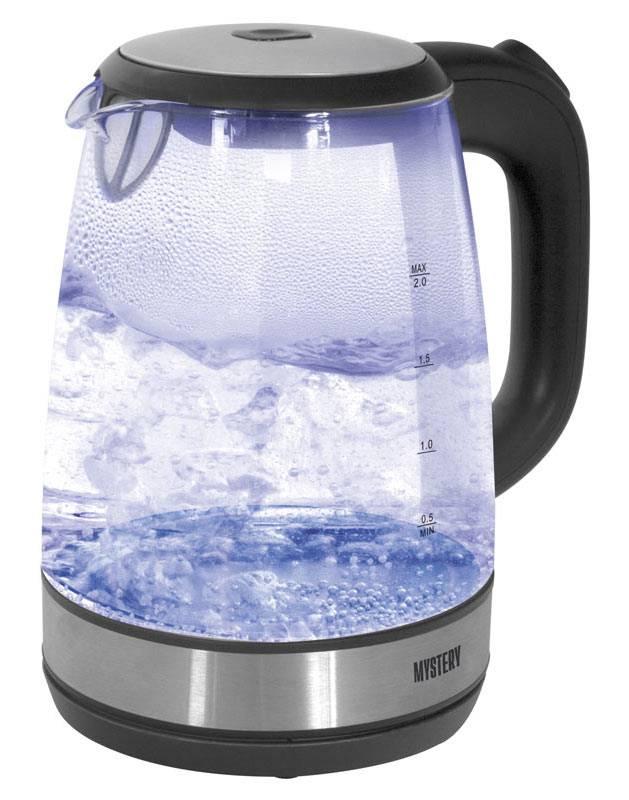 Чайник электрический Mystery MEK-1634  2200Вт 2л черный серебристый - фото 1
