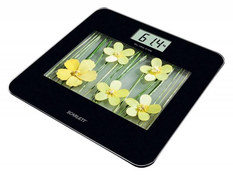 Весы напольные электронные Scarlett SC-BS33E002 желтый/рисунок - фото 1